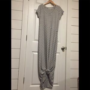 NMOT Athleta Makai Maxi Dress Gray/White stripe M